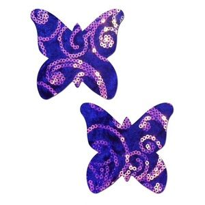 Pastease Purple Velvet Sequin Butterfly Pasties